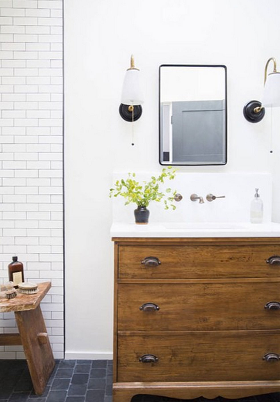 How to turn a dresser into a bathroom vanity a one of a for Turning a dresser into a bathroom vanity