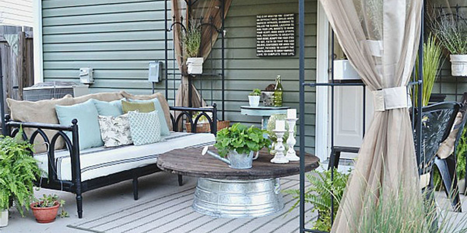 Liz marie blog patio before and after patio decorating ideas for Cheap backyard makeover ideas