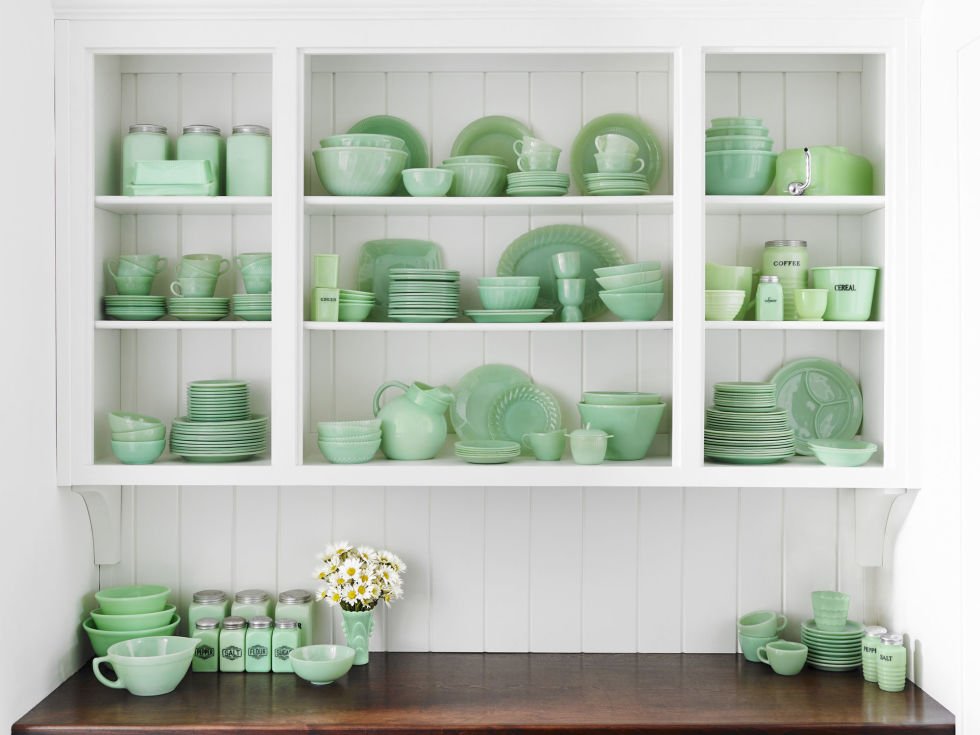 "In 1933, with the Great Depression at its height, consumers were on the hunt for affordable kitchen and dishwares. Pennsylvania's McKee Glass Company added green scrap glass to its opaque formula, producing an inexpensive product with a novel color that satisfied that demand. Following suit, Jeannette Glass began producing what they coined ""Jadite."" In 1942, Anchor Hocking copied the look with their Fire-King line of ""Jade-ite."" Benefitting from a post-World War II economic boom, the line sold more than 25 million pieces over the next decade. Today, these prized picks are still popular with collectors."
