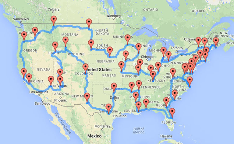 This Map Shows The Quickest And Ultimate Road Trip Across America - Usa road map