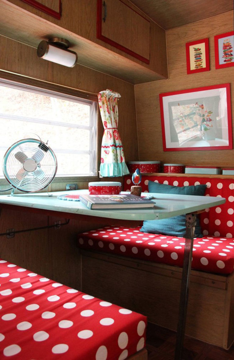 step inside this colorful and charming retro camper