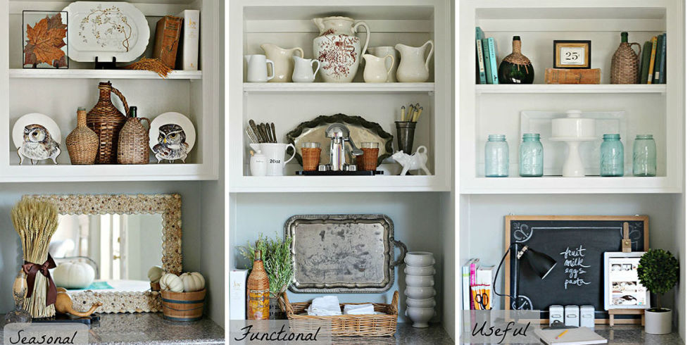 see how a few easy styling choices can completely transform a room - How To Decorate Bookshelves