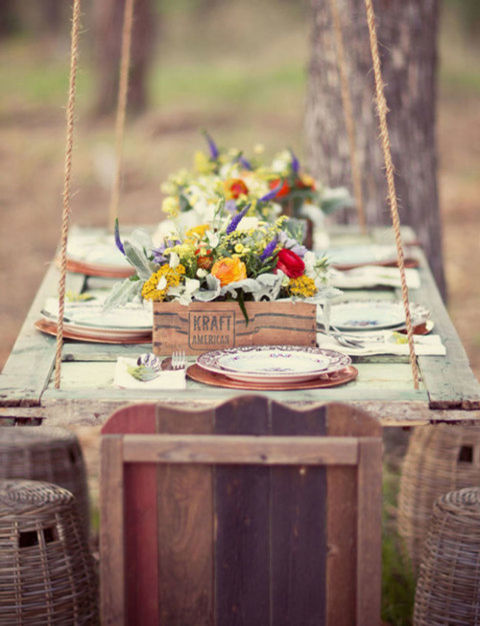Every garden should have a place where you can actually sit and enjoy it. Try hanging an old door from a tree with heavy rope for a gorgeous place to have a bite and take in the scenery.<br />See more at Green Wedding Shoes.<br />