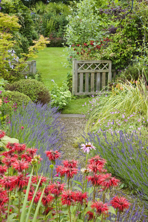 Use gravel to pave a garden path that meanders alongside your flower beds. The key is to avoid any rigid lines, instead letting the path wind to mimic the free-flowing nature of the flowers beside it.<br />