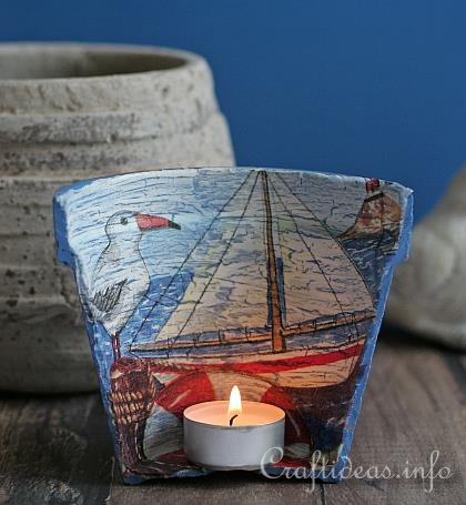 If kitschy crafts are your thing, the interior of a pot can become a cute backdrop for a glowing tea light. See more at Craft Ideas »