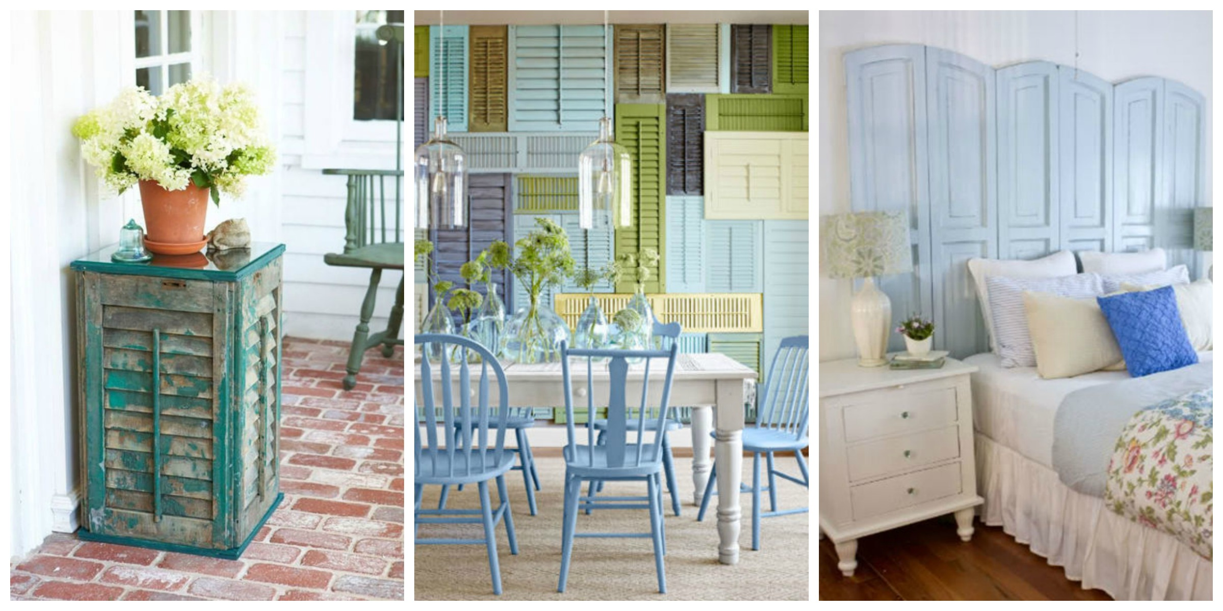 11 repurposed shutter crafts recycled craft ideas for Decorating with old windows and shutters