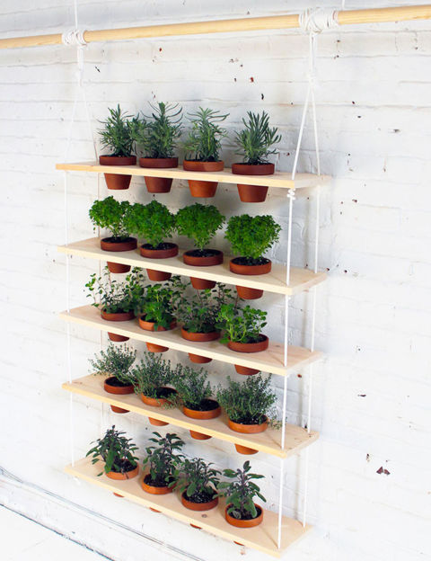 This hanging planter is made up of five wooden planks with openings that let pots dangle. The planks are spaced evenly between two pieces of rope and are secured with zip ties for a uniform look.&lt;br /&gt;&lt;br /&gt;<br /> Get the tutorial at Survival Life.&lt;br /&gt;&lt;br /&gt;<br />
