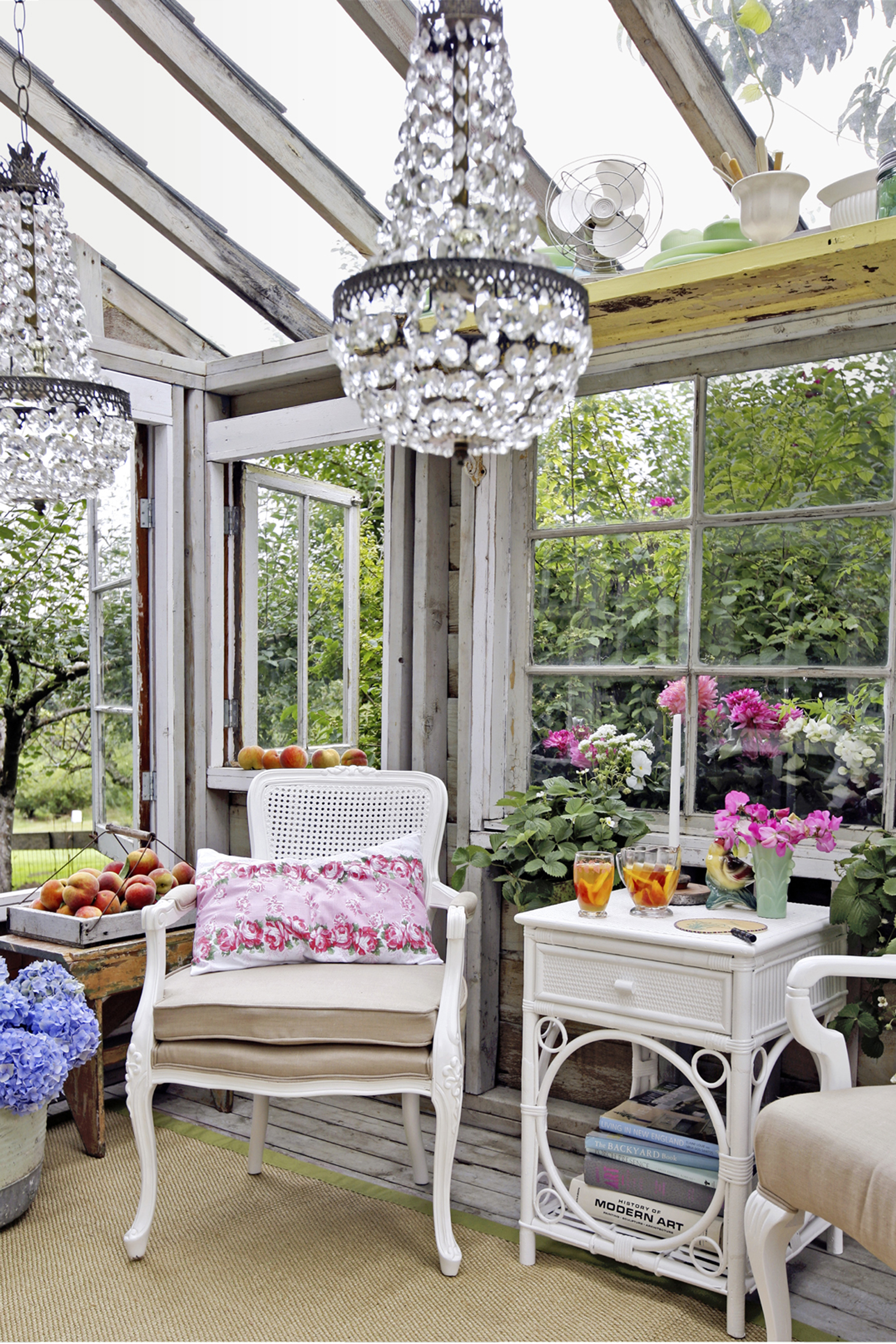 Glamorous garden shed makeover shabby chic she shed for Garden glass house designs