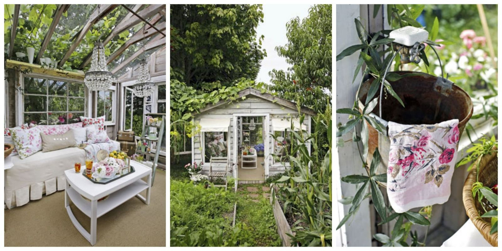 Glamorous garden shed makeover shabby chic she shed for Garden getaway designs