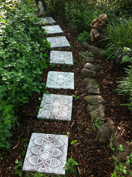 Garden Walkway Ideas a marvelous found object pathway at the organic mechanics paradise garden from the outlaw Courtesy Of Hometalk Most Popular This Garden Path