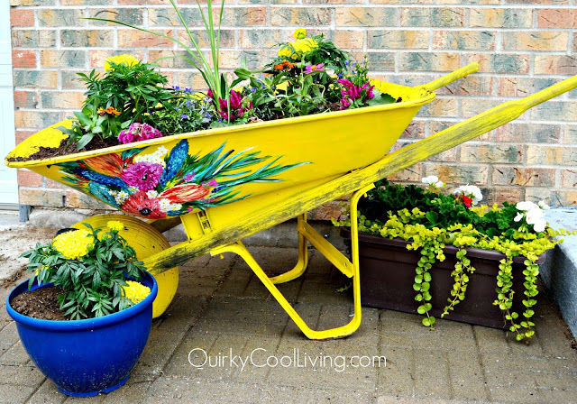 Flower Garden Ideas With Old Wheelbarrow wheelbarrow crafts - ways to repurpose a wheelbarrow