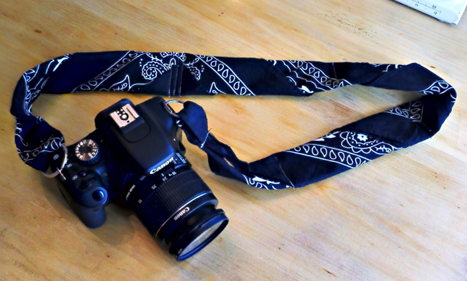 Make your own sturdy (and cute!) bandanna camera strap.  Get the tutorial at One Good Thing.