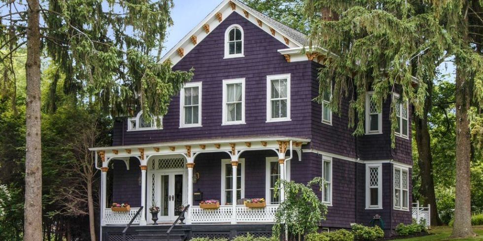 Purple victorian home purple exterior paint colors - Edwardian exterior house colours ...