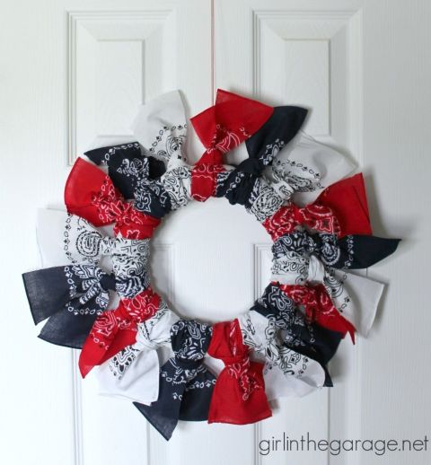 Celebrate the Fourth of July in style with a red, white, and blue bandanna wreath. Or, make a wreath you can display year-round by using your favorite colors.  Get the tutorial at Girl in the Garage.