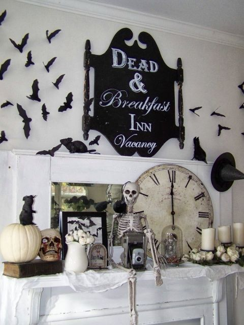 Creepy signage, bats, and rats are at the forefront of this gothic look.  See more at Arbor House Lane.