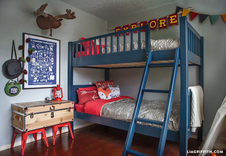 Kids Bedroom Makeover camping-themed kid's bedroom makeover - little boy bedroom