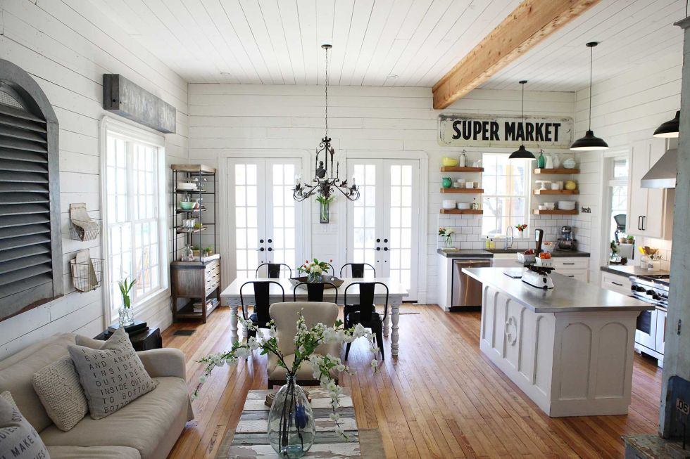White Shiplap walls, open concept greatroom, Joanna Gaines Kitchen