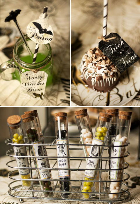 """Create perfectly spooky labels for these candy test tubes and """"poisonous"""" drinks.  Get the tutorial at Modern Moments Designs."""