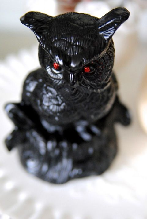 This blogger turned a thrift store find into this sinister looking owl. Make your own creepy menagerie by spray painting plastic or ceramic animas and adding red glitter or glow-in-the dark paint to their eyes. 