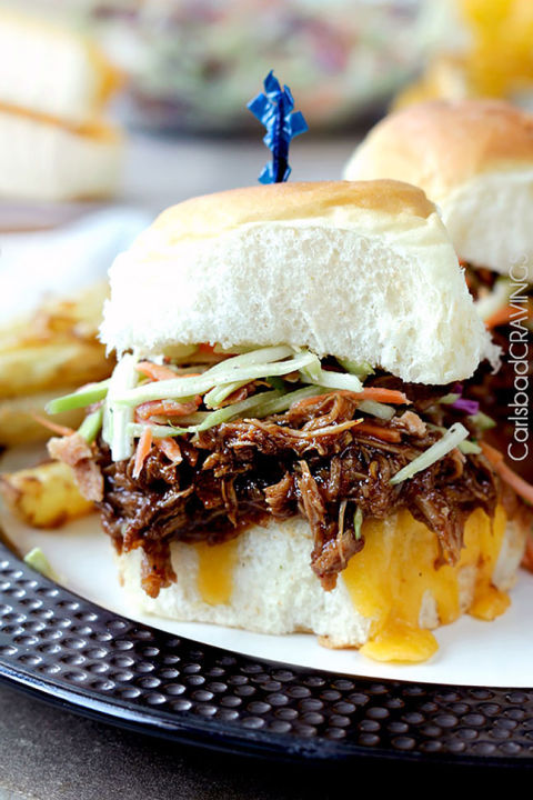 Make pulled pork in your slow cooker, giving it plenty of time to absorb extra delicious BBQ flavor. Get the recipe at Carlsbad Cravings.