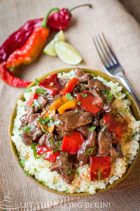 Put the meat in your slow cooker, then top with onions and peppers for a dinner your whole family will love.  Get the recipe at Let the Baking Begin.