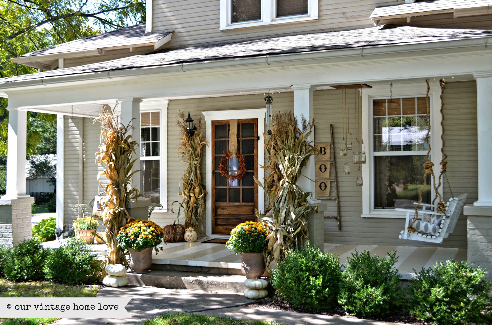 Outdoor fall decorating ideas front porch - Front Porch Design Ideas Front Porch With Knee Wall Before Remodel 37 Fall Porch Decorating Ideas
