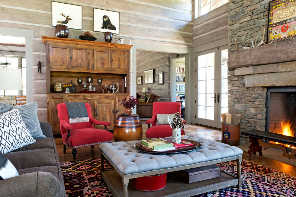 Living Room 3 Tufted Table Cabin Doesnt Have To Be Synonymous With Masculine The Home Owner Brought In Soft Touches Such As Plush Coffee