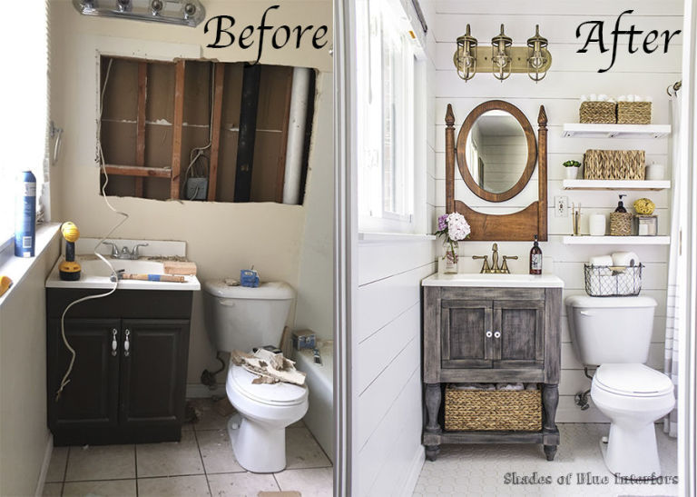 this tiny bathroom got a big ol countrified makeover