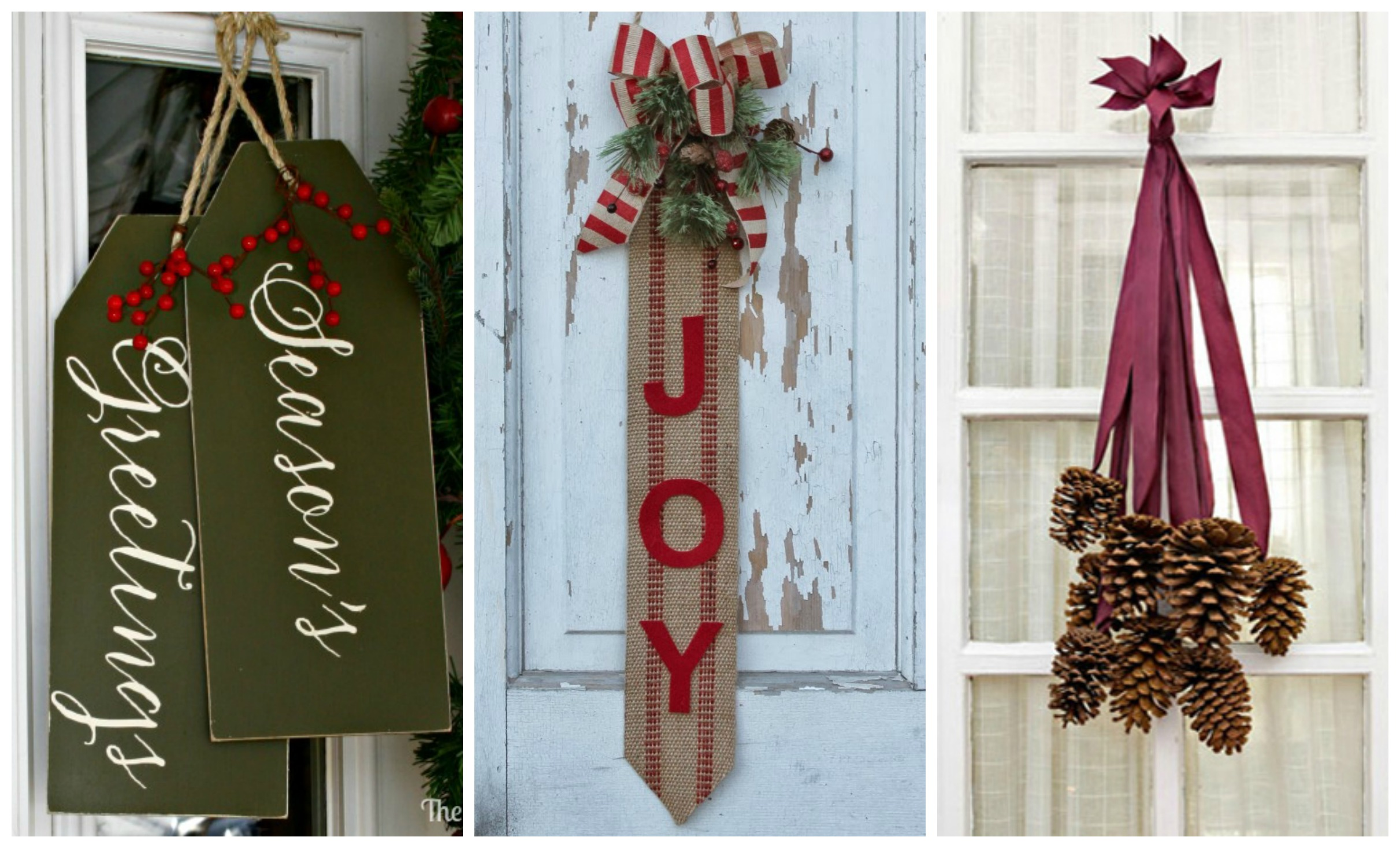 14 diy christmas door decorations holiday door for Simple home decor for christmas