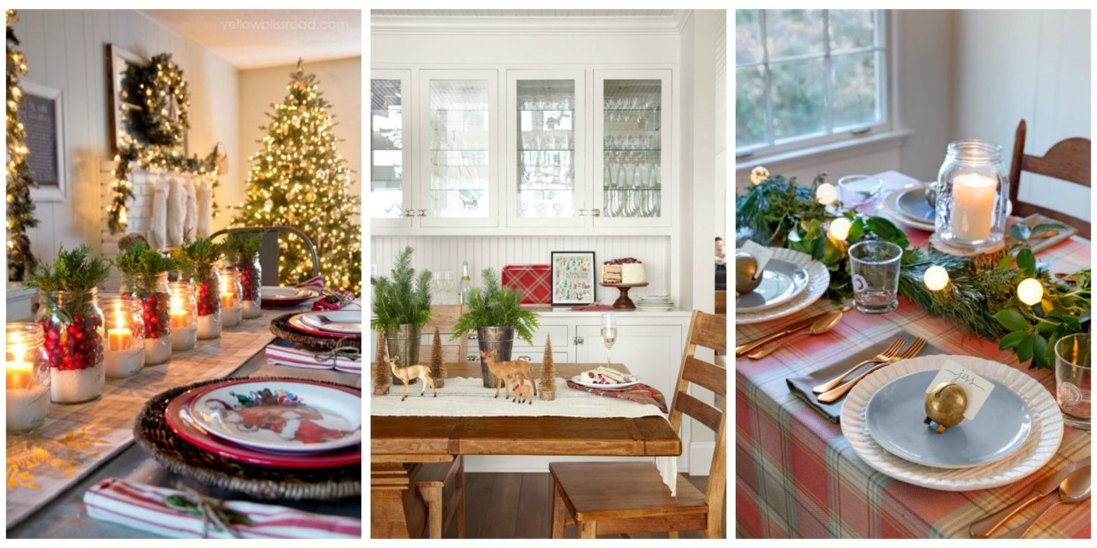 39 christmas table settings decorations and centerpieces for Country living christmas table settings