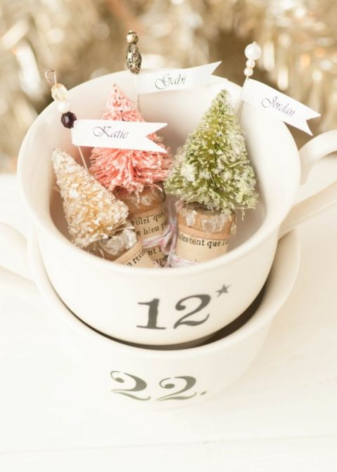 "Use these ""snow-covered pines"" as elegant place cards at your Christmas dinner.Get the tutorial at Somerset Place."