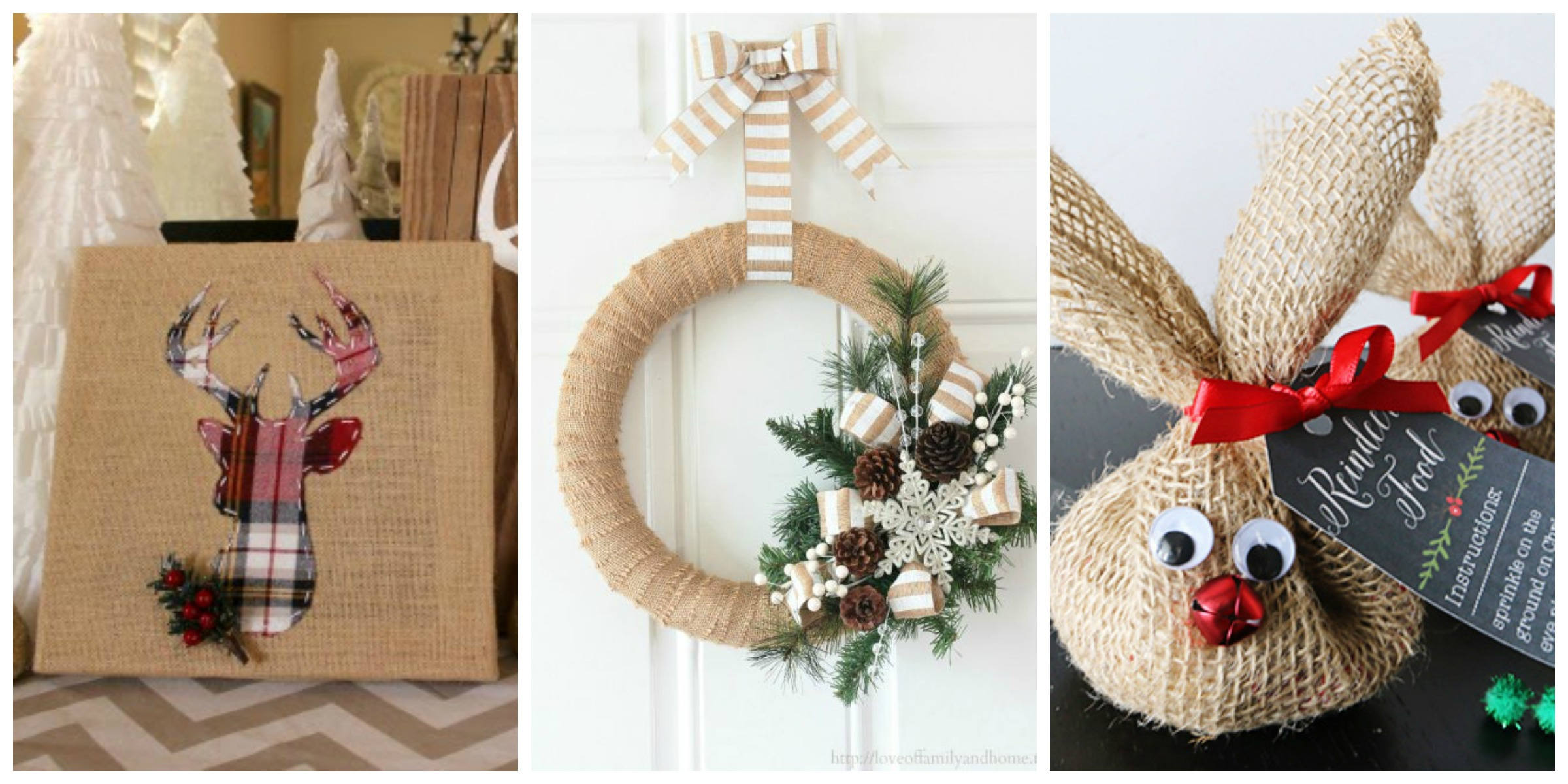 14 burlap christmas decorations rustic christmas decor for Simple christmas home decorations