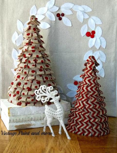 Handmade Burlap Christmas Trees