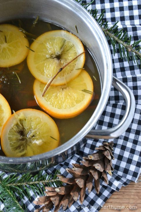 For a refreshing scent that will cozy up your house on a cold winter night, try simmering thick cuts of citrus with several sprigs of fresh balsam and rosemary.