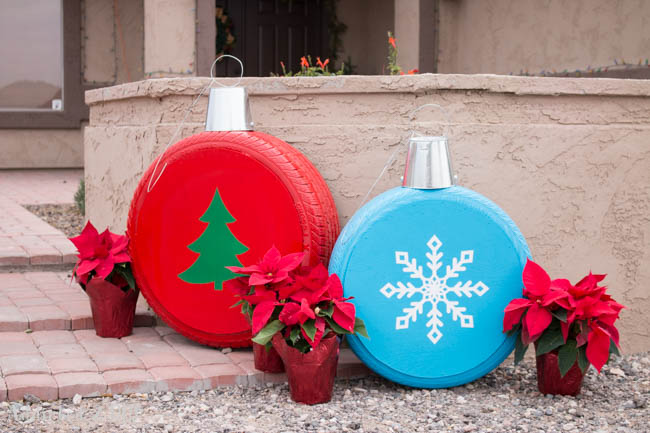 old tires christmas ornaments - Outdoor Christmas Decor