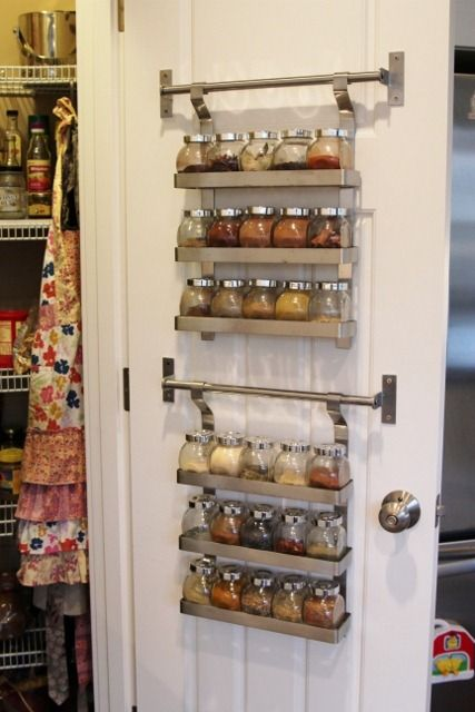 Don't waste the space on the back of your pantry door — use it to store racks and racks of flavorful spices. Here, a whopping 30 different varieties find a home where they are on full display. See more at Daily Garnish »