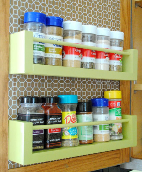 It took this blogger less than $8 and 15 minutes to build this savvy spice rack that hangs on the inside of her cabinet. Keep your favorites on two shelves, or continue to stack 'em to the top of the door to fit your entire collection in one space. Get the tutorial at Jenna Burger Design »