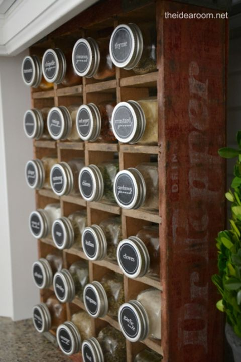 Who knew a vintage Dr. Pepper crate could be the most adorable spice rack of all time? Then, jars with black and white labels make it quick and easy to find the flavor you need for your tomato sauce. See more at The Idea Room »