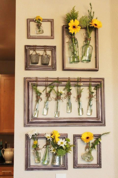Fill your walls with fresh flowers by hanging jars inside revitalized old picture frames to make a uniformed collage. Get this tutorial at What's a Muse Bouche.