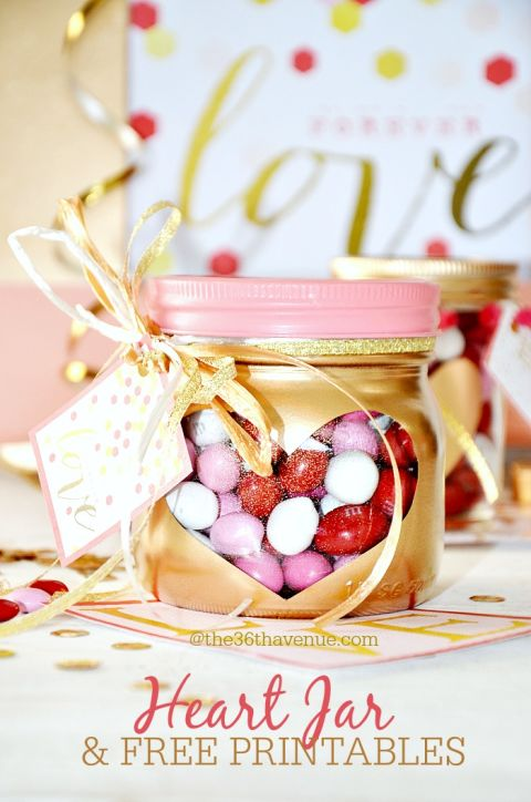 Fill these metallic jars with M&M's and gift to your neighbors or friends. Get the tutorial at The 36th Avenue.