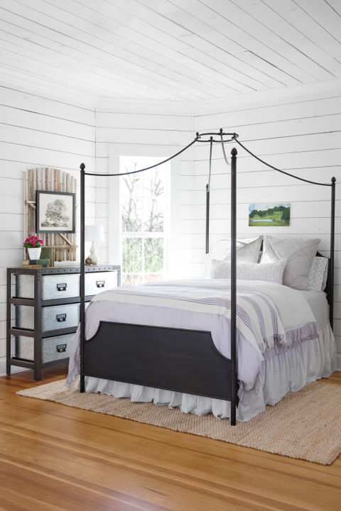 """If you want to do a white space, shiplap walls and ceilings are a great option because they add texture and character. We uncovered shiplap beneath the drywall, but if you want to add it to your home on a budget, consider just doing an accent wall, like the wall behind a bed."""