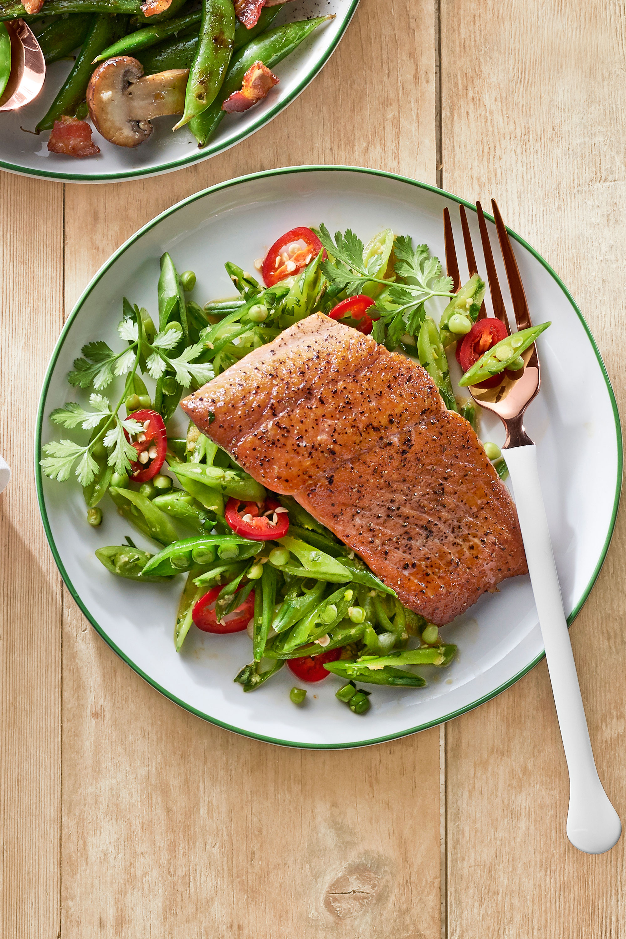 Gingery Snap Pea Slaw With Seared Salmon