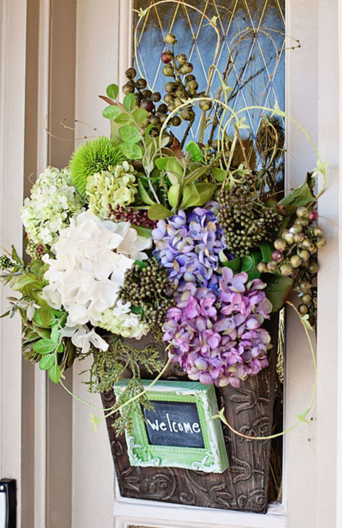 spring front door wreaths23 DIY Spring Wreaths  How to Make a Spring Wreath Yourself