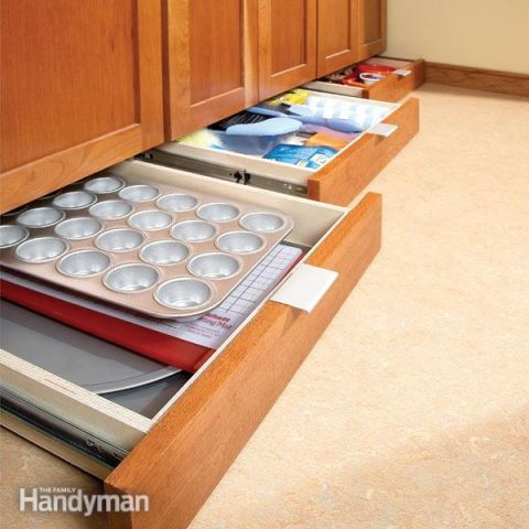If you have tons of cookie and cupcake pans, make better use of the few inches below your cabinet with savvy toe-kick drawers. Your family might even pitch in on the home improvement project if you promise treats in the future.<br />See more at The Family Handyman »