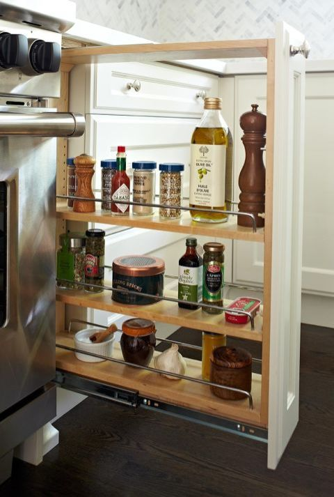 Just about every meal calls for salt, pepper, and olive oil. So why not keep all the essentials in a mini pantry next to your stovetop? Suddenly supper prep is so much faster.<br />See more at Anne Hepfer »