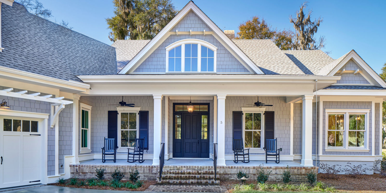 Front Elevation Landscaping : Colleton river plantation home decorating with dark colors