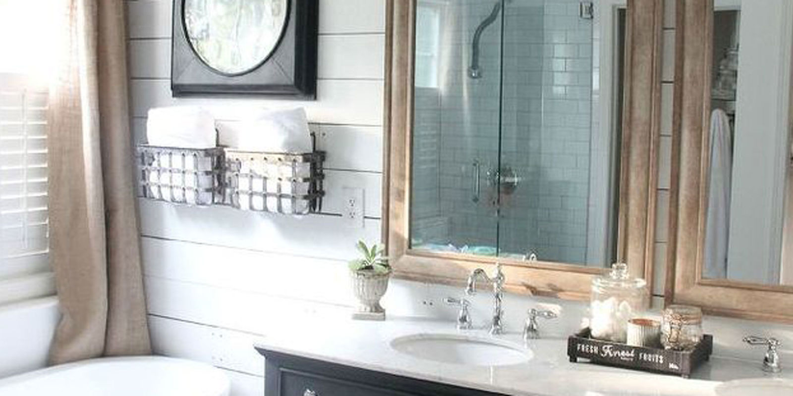Farmhouse bathroom makeover rustic bathroom remodel for Diy master bathroom ideas