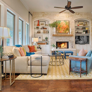 Pops Of Color Add A Modern Feel To This Homes Traditional Texas Flair