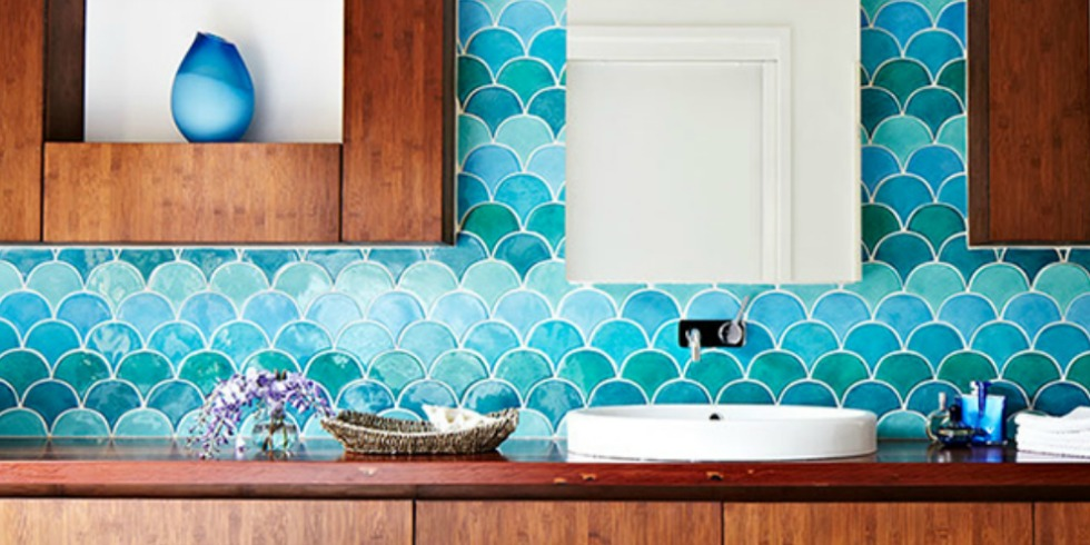 Fish scale tiles bathroom moroccan floor tiles