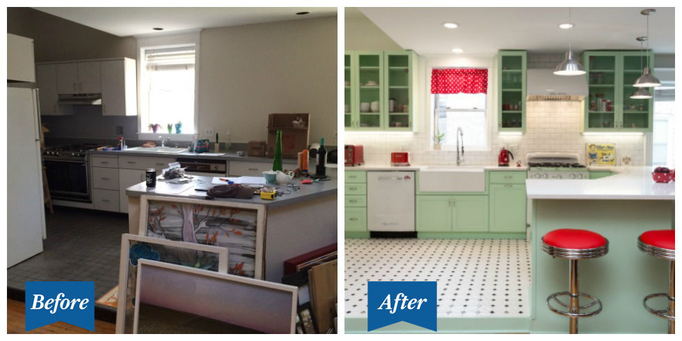 retro kitchen design. Statement cabinets and bright accents create a cheerful vibe  This Colorful Retro Kitchen Makeover Will Make You Feel Cheery